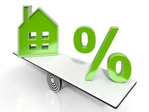 House And Percent Sign Means Real Estate Investment Or Discount