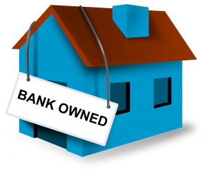 Illustration of blue house with Bank Owned sign set in white background done in retro style.